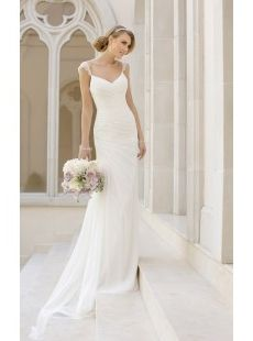A-line Straps Pleated Chiffon Sweep Train Wedding Dress