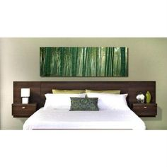 King Size Floating Headboard with Nightstands in Espresso