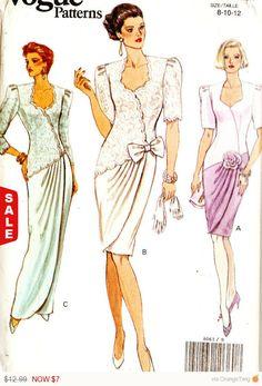 Распродажа - мода 8061 Ретро 1990-х годов макет обернуть вечернее/коктейльное платье шитье узор 8-12