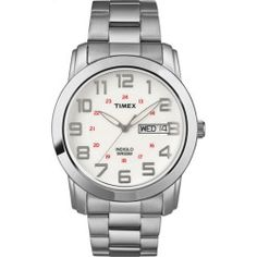 Timex Mens Silver-Tone Case & Band Elevated Classic Sport Chic Watch T2N437