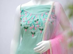 Buy Kartpick Silk With Heavy work Dress Material With Matching Dupatta online. New Embroidery Designs, Embroidery Suits Design, Embroidery Fashion, Embroidery Stitches, Hand Embroidery, Salwar Suit Neck Designs, Salwar Designs, Indian Designer Suits, Designer Salwar Suits