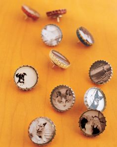 Bottle-Cap Magnets and Thumbtacks  A homey take on the traditional locket, bottle caps inset with small black-and-white pictures, can be used as thumbtacks or magnets.