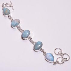 Amazing Caribbean Larimar .925 Silver Handmade Designer Bracelet Jewelry R2008 #Handmade