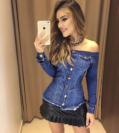 Image of: Black quilted faux leather skirt Skirt Outfits, Chic Outfits, Fashion Outfits, Look Fashion, Girl Fashion, Womens Fashion, Fashion Design, Denim Top, Love Jeans
