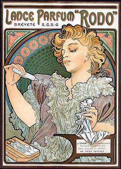 スプレー式の香水「ロド」  ミュシャが初めてデザインした商品ポスター。  ちなみに、当時はスプレー式の香水自体が画期的でした。  右下には「濡れたり染みになったりせず、吹きかければすぐにスッキリいい香り」と書いてあります。