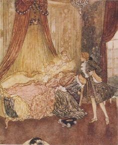 Sleeping Beauty by Edmund Dulac, from Classic Princesses by E. Nesbit, illustrated by Edmund Dulac. Nesbit was a classic children's writer who combined realism and magic. Her work inspired fantasy writers C. Lewis and J. Edmund Dulac, Fairytale Art, Art Graphique, Children's Book Illustration, Beauty Illustrations, Altered Art, Fantasy Art, Book Art, Fairy Tales