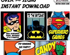 Super Hero Party Signs Batman Party Sign Superhero by MetroEvents