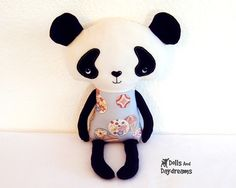 * Dolls And Daydreams - Doll And Softie PDF Sewing Patterns: Panda Teddy Bear…