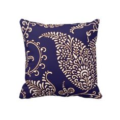 Damask vintage paisley girly floral chic pattern throw pillows by iBella