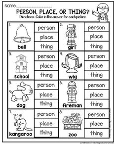 Nouns Worksheets by Teaching Second Grade Nouns And Verbs Worksheets, English Worksheets For Kids, English Lessons For Kids, Place Value Worksheets, Nouns First Grade, 1st Grade Writing, Second Grade, Grade 2, Nouns Kindergarten