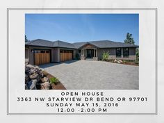 Open House! 3363 NW Starview Dr. Bend OR 97701 Price $1,099,000 Open House Sunday 5/15/16 12:00 – 2:00 pm Gorgeous new Pinnacle Construction home on Awbrey Butte. Amazing Cascade Mountain vie…