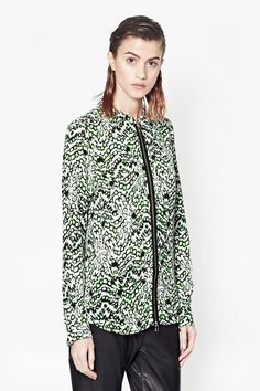 Long-sleeved tunic High neckline Buttoned cuffs and curved hemline Exposed centre front zip from neck to hem Leopard Moth, Long Sleeve Tunic, Hooded Jacket, Tunic Tops, Style Inspiration, Mens Fashion, Clothes For Women, Lady, Model