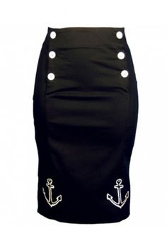 Collectif Clothing - 50s Ahoy pencil skirt black white