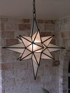 Moravian 24 clear Glass Star light lamp Closed doors Door