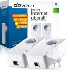 Devolo dLAN 650+ Starter Kit (600 Mbit/s, 2 Adapter im Set, 1x GB LAN Port, Steckdose, Datenfilter, Netzwerk, Powerline) weiß