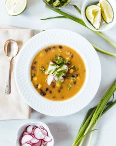 Roasted Tomatillo and Black Bean Soup...Creamy, without the cream. | acouplecooks.com