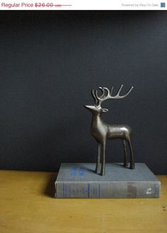 bday brass stag vintage brass deer figurine or bookend 2210 via etsy