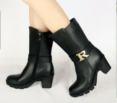 New autumn and winter 2014 new European high-heeled shoes with thick leather motorcycle boots Martin boots knight boots child