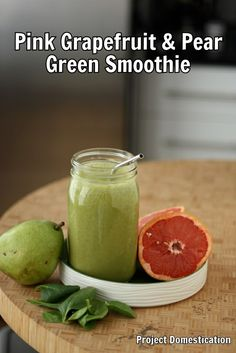 Pink Grapefruit & Pear Green Smoothie by @Becky O.