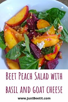 Beet and Peach Salad with Basil and Goat Cheese - Salad Recipes Veggie Recipes, Gourmet Recipes, Vegetarian Recipes, Cooking Recipes, Healthy Recipes, Beet Salad Recipes, Recipes Dinner, Delicious Salad Recipes, Recipes With Basil