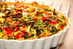 Opskrift på en god grøntsagstærte, der er lavet helt uden kød. Grøntsagstærten fyldes i stedet med blandt andet broccoli og asparges. Ingredienser til grøntsagstærte er: 175 gram hvedemel 125 gram koldt smør 3 teskefulde koldt vand Fyld i tærten er 1