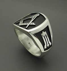 Made entirely in the U. Ring Details~ All creations are custom designed, hand cast with solid sterling silver, and individually polished. THIS IS NOT MASS PRODUCED. * Solid back . Masonic Jewelry, Satanic Rituals, Ring My Bell, Masonic Symbols, Freemasonry, Hand Cast, Beautiful Gift Boxes, Chrome Plating, Black Backgrounds
