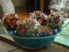 Button and bead orbs -- 14 cm blue, pink, or black and white