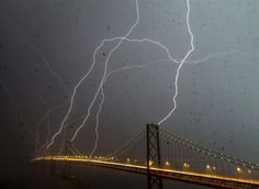 Lightening Strikes the San Francisco Bay Bridge, April 12, 2012