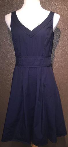 Eshakti Navy Blue Vintage 100 Cotton Sleeveless Dress L 12 | eBay