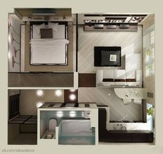 studio apartment floor plan design We feature 50 studio apartment plans in perspective. For those looking for small space apartment plans, your search ends here. Layouts Casa, House Layouts, Tiny Spaces, Small Apartments, College Apartments, Garage Apartments, Studio Apartment Floor Plans, Garage Studio Apartment, Studio Floor Plans