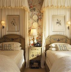 just one idea/ Winter/wall+window cover;  aviary print onto fabric of bed's background.  aim not too kitchy