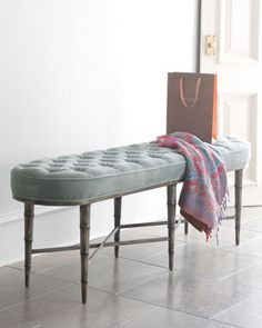 Antiqued-Teal Tufted Bench at Horchow.