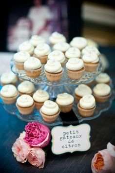.... love that it's in french... although I'm pretty sure petit gateaux translates to cookies?  wedding cupcakes