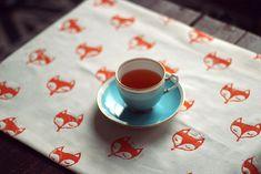 DIY fox stamped fabric