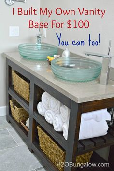 Diy Furniture : DIY Open Shelf Vanity With Free Plans and tutorial to build a vanity. Diy Bathroom Vanity, Diy Vanity, Small Bathroom, Bathroom Ideas, Vanity Ideas, Bathroom Cabinets, Bathroom Inspiration, Bathroom Hacks, Neutral Bathroom