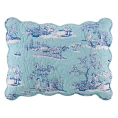 Features:  -Licensed Williamsburg design.  -Machine washable.  -Scalloped edge.  -Hampstead collection.  Product Type: -Sham.  Size: -Full/Double/Queen.  Color: -Blue.  Pattern: -Toile.  Primary Mater