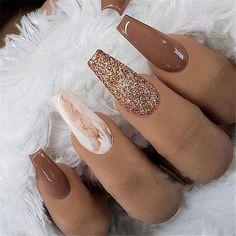 Fall Nail Art Designs, Cute Acrylic Nail Designs, Brown Nail Designs, Nail Designs For Winter, Gel Nail Polish Designs, Nail Ideas For Winter, Cool Nail Ideas, Toe Designs, Long Nail Designs