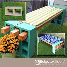 Make a bold statement using ready-made cinder blocks and wooden beams. Check out the basics here: http://www.fabeveryday.com/2014/04/diy-cinder-block-bench.html
