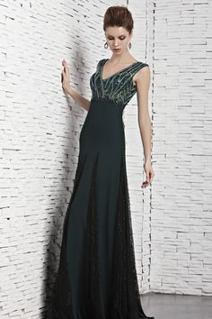 Hunter Floor-Length V-Neck Chiffon A-Line Evening Dress With Crystal