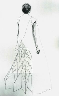 yuki hagino 1007 Origami Fashion Dress sketch