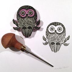 a hand carved owl stamp | Annukka Palmén