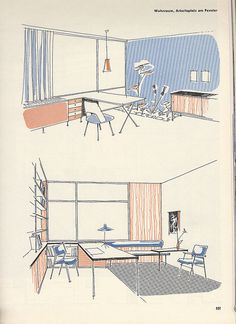 from a AIT [Interiour] magazine Vintage Graphic Design, Retro Design, Architect Sketchbook, Interior Design Presentation, Technical Illustration, Background Drawing, House Drawing, Architecture Drawings, Environmental Design