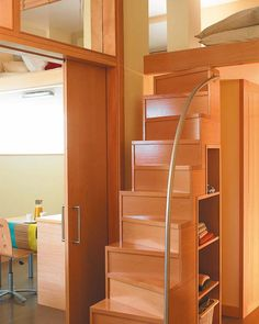 good use of space. lofted bedroom with narrow stairs (that i would fall off of). plus, storage under the steps.