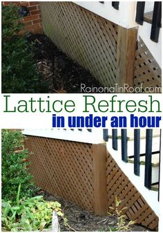 Lattice gets overlooked so often! Why not make it pop with this quick refresh in under an hour! Its so easy! via RainonaTinRoof.com