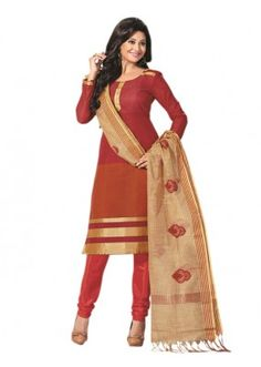 Party Wear Red Un-Stitched Churidar Suit - RMZM1611