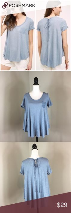 Anthropologie t.la Lace Up Swing Tee Anthropologie t.la Lace Up Swing Tee in Vintage Blue. Size small. Good used condition. Approximate measurements flat laid are 28' long and 19' bust. Anthropologie Tops Tees - Short Sleeve