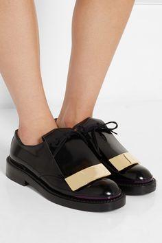Marni|Embellished polished-leather brogues #marni #brogues #oxford