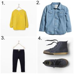 1. Zara Sweatshirt with pocket 2. H&M Denim Shirt 3. Zara Five-Pocket Trousers 4. Gap Canvas Hi-Top Sneakers Bobby has a yellow sweater and I love it on him, especially at this time of year whe...