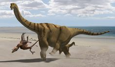 """Recreation of Brontomearus aka """"Thunder Thighs"""".  It could kick 3x as powerfully as a similar sauropod.  I clicked on this because I thought someone had taken my picture :)"""