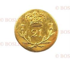 """21st (Royal North British Fusiliers) Regiment of Foot Georgian Officers gilt flat-back small coatee button. A good example by I. Nutting, Covent Garden. Crown over """"""""21"""""""" resting in thistle sprays. Complete with shank. VGC (Approx. 17 mm) Design changed in 1830. 21st (Royal North British Fusiliers) Regiment of Foot- 1st Battalion on the American coast from August 1814 to March 1815. Main engagements: Bladensburg, Washington, Goodley Woods, New Orleans, Fort Bowyer."""